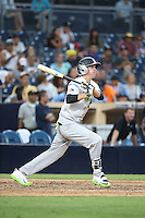 Drew Waters (12) of the East Team bats against the West Team during the Perfect Game All American Classic at Petco Park on August 14, 2016 in San Diego, California. West Team defeated the East Team, 13-0. (Larry Goren/Four Seam Images)