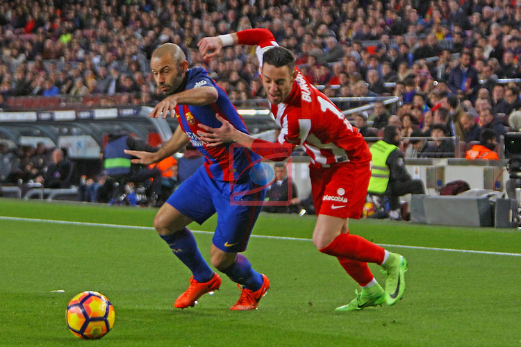 League Santander 2016/2017. Game: 25.<br /> FC Barcelona vs Real Sporting SAD: 6-1.<br /> Javier Mascherano vs Burgui.