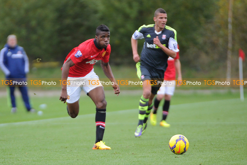Wilfried Zaha of Manchester United chases the ball - Manchester United Under-21 vs Stoke City Under-21 - Barclays Under-21 Premier League Football at the J Davidson Stadium, Altrincham, Greater Manchester - 08/11/13 - MANDATORY CREDIT: Greig Bertram/TGSPHOTO - Self billing applies where appropriate - 0845 094 6026 - contact@tgsphoto.co.uk - NO UNPAID USE