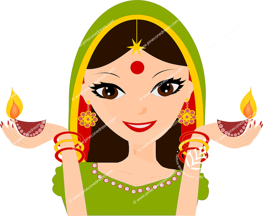 Pretty Indian girl holding Diwali diyas in hands wearing traditional Indian dress, vector illustration isolated on white background.<br />