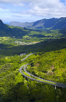 Aerial of Pali Hwy, Mt Olomana, Windward Oahu, Kailua
