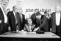 Amr Moussa surrounded by his team during a rally in Idku, a town nearby Alexandria. May 18th, 2012. Idku, Egypt.