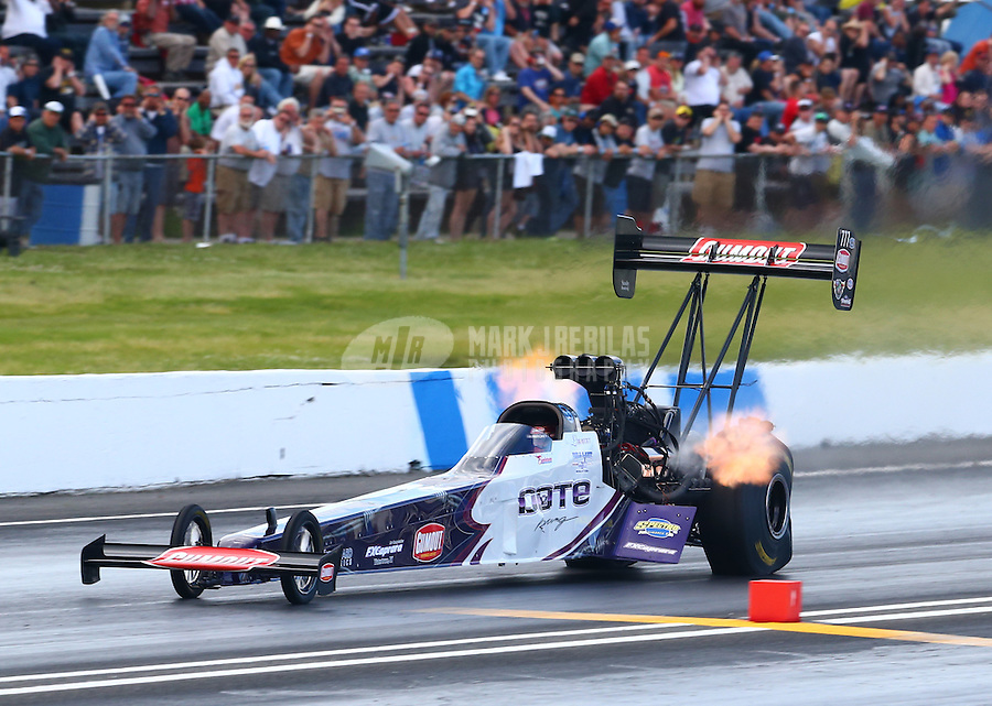 May 31, 2014; Englishtown, NJ, USA; NHRA top fuel driver Leah Pritchett during qualifying for the Summernationals at Raceway Park. Mandatory Credit: Mark J. Rebilas-
