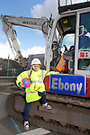 Welsh Water - Ebony Locke from Llansawel Primary School in Briton Ferry who won a competition to name one of the machines working outside her school..11.07.12.©Steve Pope.