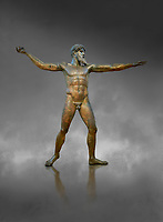 Early classical ancient Greek bronze statue of Zeus or Poseidon, circa 450 BC. Athens National Arcjaeological Museum, cat no X15161. Grey background.<br /> <br /> This bronze statue was found in the sea off Cape Artemision in northern Euobea. Zeus or Poseidon is shown making a great stride. His lefy arm is extended forward and his righy arm extends back which would have held a thunderbolt, if Zeus, or a trident if Poseidon. The identification of the statue is controversial though it ios more likely Zeus. <br /> <br /> It is one of the few preserved original statues of Severe Style, notable for the exuisite rendering of motion and anatomy. Iy is certainly the work of a great sculptor of the early ancient Greek Classical period