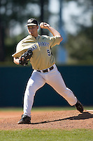 Relief pitcher Austin Stadler #9 of the Wake Forest Demon Deacons in action versus the Duke Blue Devils at Jack Coombs Field March 29, 2009 in Durham, North Carolina. (Photo by Brian Westerholt / Four Seam Images)