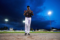 Batavia Muckdogs right fielder Jhonny Santos (13) walks off the field during a game against the West Virginia Black Bears on June 26, 2017 at Dwyer Stadium in Batavia, New York.  Batavia defeated West Virginia 1-0 in ten innings.  (Mike Janes/Four Seam Images)