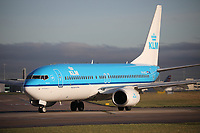 A KLM Royal Dutch Airlines Boeing 737-8K2 Registration PH-BCE named Bluethroat / Blauwborst at Manchester Airport on 11.2.19 going to Amsterdam Schipol Airport, Netherlands.