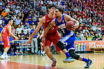 Marcus Ryan Elliott #2 of Eastern Long Lions (R) in action against Nixon Nigel Thomas #24 of SCAA (L) during the Final of Hong Kong Basketball League 2018 match between SCAA v Eastern Long Lions on August 10, 2018 in Hong Kong, Hong Kong. Photo by Marcio Rodrigo Machado/Power Sport Images