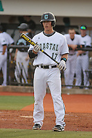 Coastal Carolina University infielder Justin Creel #17 at bat during a game against the James Madison University Dukes at Watson Stadium at Vrooman Field on February 17, 2012 in Conway, SC.  Coastal Carolina defeated James Madison 7-1.  (Robert Gurganus/Four Seam Images)