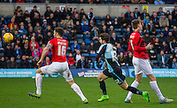 Max Kretzschmar of Wycombe Wanderers goes through before scoring his goal during the Sky Bet League 2 match between Wycombe Wanderers and Crawley Town at Adams Park, High Wycombe, England on 28 December 2015. Photo by Kevin Prescod / PRiME Media Images