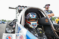 Aug 20, 2017; Brainerd, MN, USA; NHRA top fuel driver Antron Brown during the Lucas Oil Nationals at Brainerd International Raceway. Mandatory Credit: Mark J. Rebilas-USA TODAY Sports