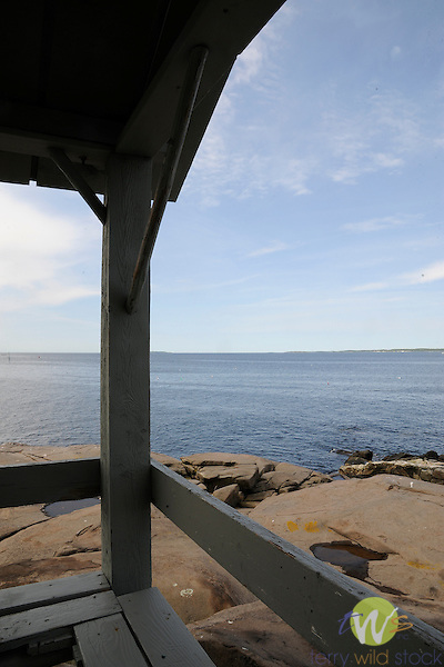 View of ocean from Newagen portico, Southport Island, ME.