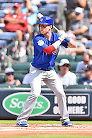 Chicago Cubs left fielder Chris Coghlan (8) awaits a pitch during a game against the Atlanta Braves at Turner Field on June 11, 2016 in Atlanta, Georgia. The Cubs defeated the Braves 8-2. (Tony Farlow/Four Seam Images)