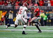 January 8th 2018, Atlanta, GA, USA; Georgia Bulldogs wide receiver Riley Ridley (8) makes a reception during the College Football Playoff National Championship Game between the Alabama Crimson Tide and the Georgia Bulldogs on January 8, 2018 at Mercedes-Benz Stadium in Atlanta, GA.