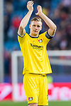 Goalkeeper Bernd Leno of Bayer 04 Leverkusen celebrates during their 2016-17 UEFA Champions League Round of 16 second leg match between Atletico de Madrid and Bayer 04 Leverkusen at the Estadio Vicente Calderon on 15 March 2017 in Madrid, Spain. Photo by Diego Gonzalez Souto / Power Sport Images