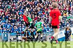 Fergal Griffin Glenbeigh Glencar in action against Ciaran Gourle Rock Saint Patricks in the Junior Football All Ireland Final in Croke Park on Sunday.