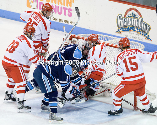 Colby Cohen (BU - 25), Brian McGuirk (BU - 28), Matt Duffy (Maine - 21), Glenn Belmore (Maine - 15), Eric Gryba (BU - 2), John McCarthy (BU - 15) - The Boston University Terriers defeated the University of Maine Black Bears 1-0 (OT) on Saturday, February 16, 2008 at Agganis Arena in Boston, Massachusetts.
