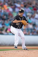 Charlotte Knights relief pitcher Jarrett Casey (10) in action against the Columbus Clippers at BB&T BallPark on May 27, 2015 in Charlotte, North Carolina.  The Clippers defeated the Knights 9-3.  (Brian Westerholt/Four Seam Images)