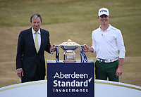With the sponsor Brandon Stone (RSA) wins the Final Round of the ASI Scottish Open 2018, at Gullane, East Lothian, Scotland.  15/07/2018. Picture: David Lloyd | Golffile.<br /> <br /> Images must display mandatory copyright credit - (Copyright: David Lloyd | Golffile).