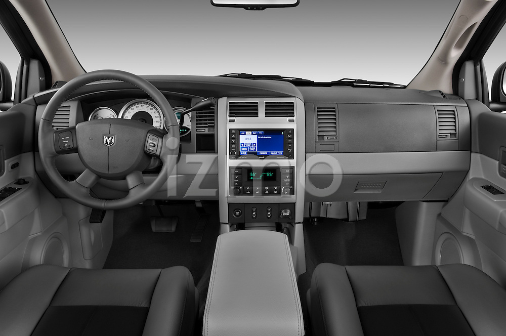 Straight dashboard view of a 2009 Dodge Durango Hybrid.
