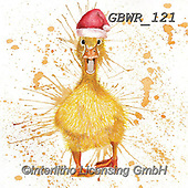 Simon, CHRISTMAS ANIMALS, WEIHNACHTEN TIERE, NAVIDAD ANIMALES, paintings+++++Card_KatherineW_SplatterChristmasDuckSquare,GBWR121,#xa#
