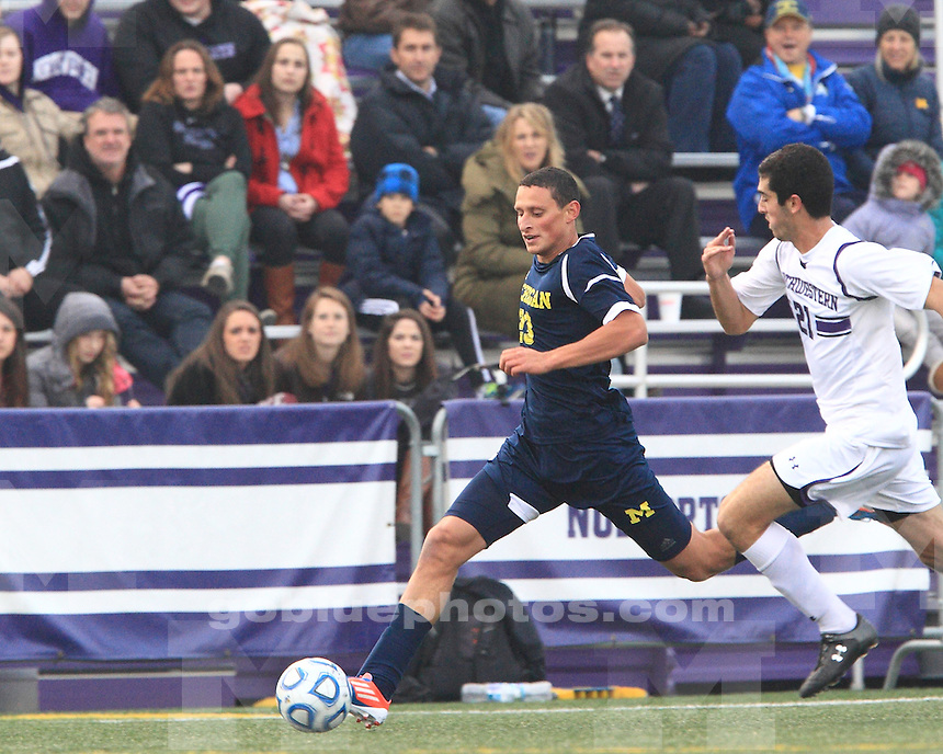 The University of Michigan men's soccer team beat Northwestern, 3-0, to advance to 2012 Big Ten Championship at Lakeside Field in Evanston, Ill., on November 9, 2012.