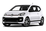 Stock pictures of low aggressive front three quarter view of a 2018 Volkswagen UP GTi 3 Door Hatchback