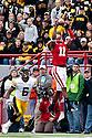 25 November 2011: cornerback Andrew Green #11 of the Nebraska Cornhuskers makes an interception against the Iowa Hawkeyes at the Memorial Stadium in Lincoln, Nebraska. Nebraska defeated Iowa 20 to 7.