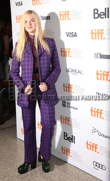Elle Fanning attending the The 2012 Toronto International Film Festival.Red Carpet Arrivals for 'Ginger And Rosa' at the Elgin Theatre in Toronto on 9/7/2012