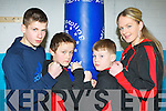 Brandan Murphy, Barry O'Connor, Jordan Coffey and Shannon O'Sullivan  at the opening of the Sliabh Luachra Boxing club in the NEKD offices in Castleisland on Saturday.