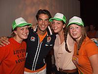 14-sept.-2013,Netherlands, Groningen,  Martini Plaza, Tennis, DavisCup Netherlands-Austria, ,  Dutch Team celebration with students , Jesse Huta Galung with some fans<br /> Photo: Henk Koster