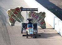 Feb 22, 2020; Chandler, AZ, USA; NHRA top fuel driver Terry McMillen during qualifying for the Arizona Nationals at Wild Horse Pass Motorsports Park. Mandatory Credit: Mark J. Rebilas-USA TODAY Sports