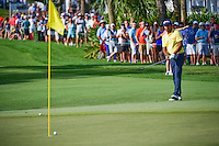 Anirban Lahiri (IND) chips in from off the green for birdie on 12 during round 3 of the Honda Classic, PGA National, Palm Beach Gardens, West Palm Beach, Florida, USA. 2/25/2017.<br /> Picture: Golffile | Ken Murray<br /> <br /> <br /> All photo usage must carry mandatory copyright credit (&copy; Golffile | Ken Murray)