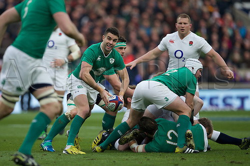 27.02.2016. Twickenham, London, England. RBS Six Nations Championships. England versus Ireland. Ireland scrum-half Conor Murray clears the ball.