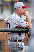 Florida State Seminoles head coach Mike Martin (11) watches the action from the visitors dugout at Gene Hooks Stadium on the campus of Wake Forest University in Winston-Salem, NC, Friday, March 28, 2008.