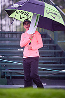 Belen Mozo (ESP) attempts to stay dry on the first tee before  Friday's second round of the 72nd U.S. Women's Open Championship, at Trump National Golf Club, Bedminster, New Jersey. 7/14/2017.<br /> Picture: Golffile | Ken Murray<br /> <br /> <br /> All photo usage must carry mandatory copyright credit (&copy; Golffile | Ken Murray)