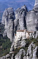 METEORA, GREECE, 15.10.02. Rousanou monastry perched high on the rocks was built in 1288. Since the 11th century AD many Greek Orthodox monastries have been founded on the towering cliffs of Meteora. Nowadays Meteora is a place of pilgrimage for  christians, mountaineers, and tourists.  Photo by Frits Meyst/Adventure4ever.com