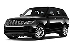 Stock pictures of low aggressive front three quarter view of 2019 Land Rover Range-Rover HSE 5 Door SUV Low Aggressive