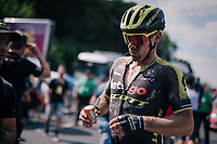 Michael Hepburn (AUS/Mitchelton Scott) stretching the cobbles out post-finish<br /> <br /> Stage 9: Arras Citadelle > Roubaix (154km)<br /> <br /> 105th Tour de France 2018<br /> ©kramon