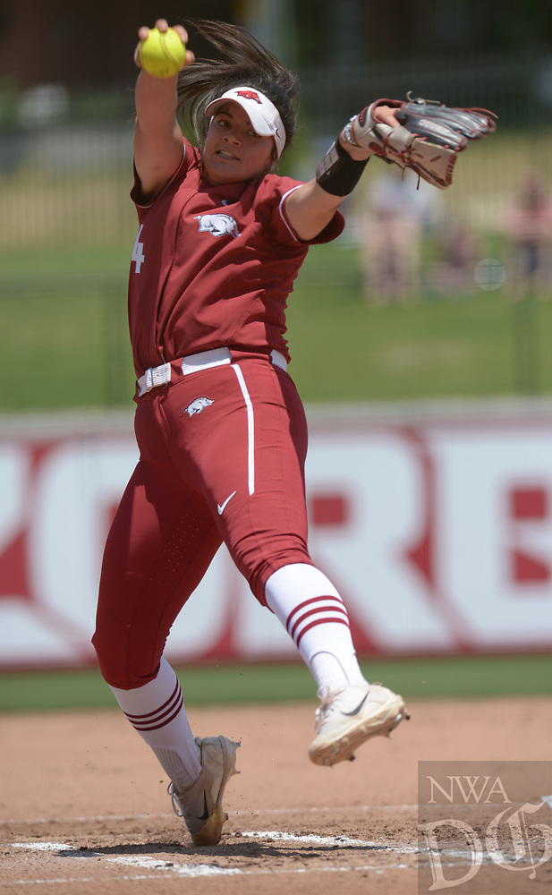 NWA Democrat-Gazette/ANDY SHUPE<br />Arkansas starter Mary Haff delivers to the plate Saturday, May 19, 2018, during the second inning against Wichita State at Bogle Park during the NCAA Fayetteville Softball Regional on the university campus in Fayetteville. Visit nwadg.com/photos to see more photographs from the game.