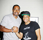 """Lamman Rucker (AMC """"Garret Williams"""" and ATWT """"T Marshall Travers"""" poses with Chester Gregory (who is Jackie Wilson in The Eve of Jackie) during The National Black Theatre Festival with a week of plays, workshops and much more with an opening night gala of dinner, awards presentation followed by Black Stars of the Great White Way followed by a celebrity reception. It is an International Celebration and Reunion of Spirit. (Photo by Sue Coflin/Max Photos)"""