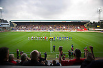 St Johnstone v Rosenborg....25.07.13  Europa League Qualifier<br /> The teams line up before kick off<br /> Picture by Graeme Hart.<br /> Copyright Perthshire Picture Agency<br /> Tel: 01738 623350  Mobile: 07990 594431