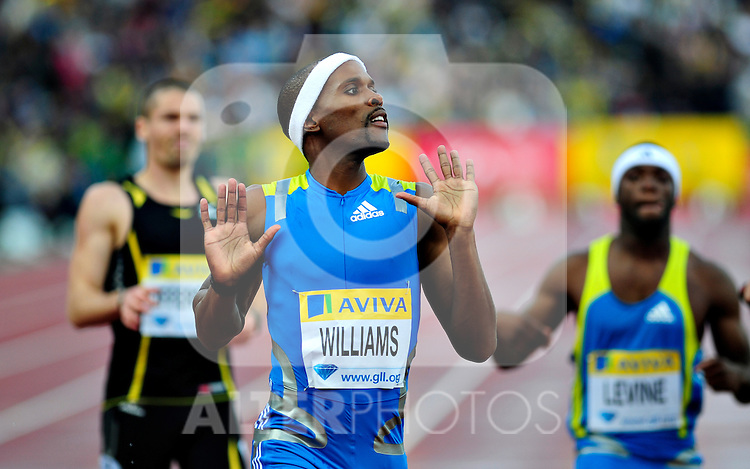 Conrad Williams of Great Britain reacts after the finish line of the final straight during the Men's 400 Final B race during the Samsung Diamond League meeting at Crystal Palace in London August 13, 2010.