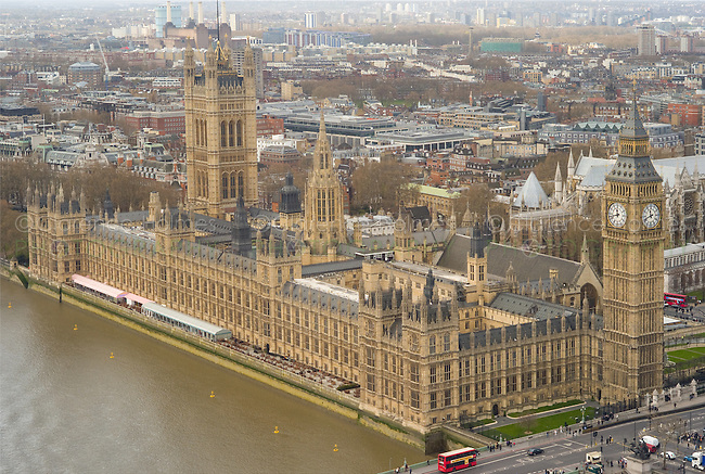 Birds eye view of houses of Parliament and Westminster, London, England