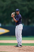 GCL Yankees West starting pitcher Nelvin Correa (26) gets ready to deliver a pitch during the second game of a doubleheader against the GCL Braves on July 30, 2018 at Champion Stadium in Kissimmee, Florida.  GCL Braves defeated GCL Yankees West 5-4.  (Mike Janes/Four Seam Images)