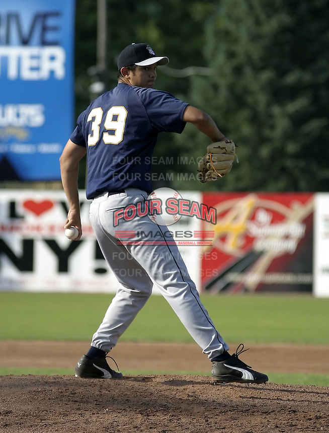 July 3, 2004:  Mariano Gomez of the Mahoning Valley Scrappers, Short-Season Low-A NY-Penn League affiliate of the Cleveland Indians, during a game at Russell Diethrick Park in Jamestown, NY.  Photo by:  Mike Janes/Four Seam Images