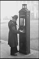 BNPS.co.uk (01202 558833)<br /> Pic: BTHeritage&amp;Archives/BNPS<br /> <br /> A police officer using a Metropolian Police Telephone pillar.<br /> <br /> The iconic British phonebox has been given a ringing endorsement in a new book charting the expiring institution's fascinating history. <br /> <br /> Aptly titled 'The British Phonebox', the book primarily focuses on the ubiquitous design that's as emblematic to Britain as the black cab, double decker bus and Houses of Parliament. <br /> <br /> Equally interesting are the early chapters, which detail the phonebox's humble 19th century beginnings and the final ones, that bemoan their dwindling numbers <br /> <br /> The 96 page paperback, jointly authored by friends Nigel Linge and Andy Sutton, is published by Amberley and costs &pound;13.49.