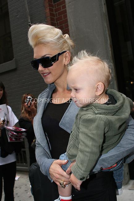 WWW.ACEPIXS.COM . . . . .  ....September 10 2009, New York City....Singer Gwen Stefani and her son Zuma Nesta Rock Rossdale leave her LAMB fashion presentation at Milk Studios on September 10 2009 in New York City....Please byline: NANCY RIVERA- ACE PICTURES.... *** ***..Ace Pictures, Inc:  ..tel: (212) 243 8787 or (646) 769 0430..e-mail: info@acepixs.com..web: http://www.acepixs.com