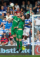 Preston North End's Tom Clarke and Paul Huntington competing with Queens Park Rangers' Chay Tilt<br /> <br /> Photographer Andrew Kearns/CameraSport<br /> <br /> The EFL Sky Bet Championship - Queens Park Rangers v Preston North End - Loftus Road - London<br /> <br /> World Copyright &copy; 2018 CameraSport. All rights reserved. 43 Linden Ave. Countesthorpe. Leicester. England. LE8 5PG - Tel: +44 (0) 116 277 4147 - admin@camerasport.com - www.camerasport.com